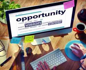 How to be successful Opportunity Business Vision Online Office Working Concept